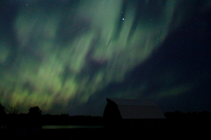 northern lights over farm / rejoicing hills