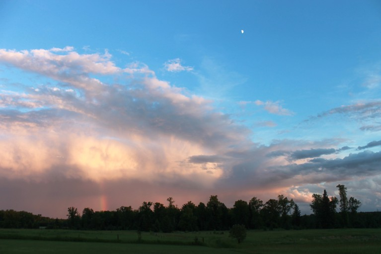 sunset rainbow and moon / rejoicing hills